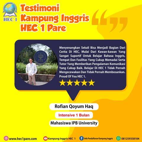 Rofian Qoyum Haq - Intensive 1 Bulan - Mahasiswa IPB